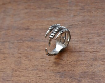 Crow ring Claw ring Crow jewelry Raven ring Bird claw jewelry Silver crow claw