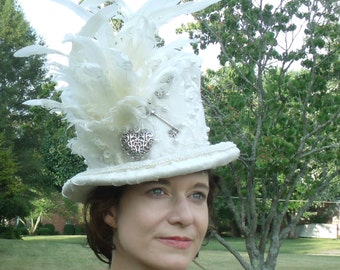 Bridal Steampunk Top Hat In Beaded Ivory Lace and Satin size small