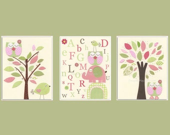 Kids Wall Art, Nursery Art Print, Baby Girl Nursery Art // Hayley bedding set PBK // Colors Pink green // Set of 3 8x10 Prints