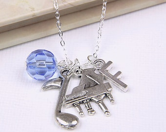 Personalized Pianist Necklace with Your Initial and Birthstone
