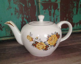 Vintage Ellgreave by Wood and Sons Teapot, Ivory with Yellow Roses and Gold Trim/Made in England/Ironstone
