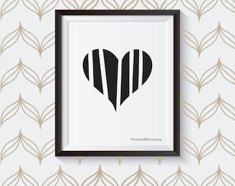 Modern Stripe Heart 8x10 Printable