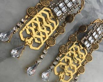 Statement Oversized earrings chandelier earrings Crystal Chandelier Earrings tassels Earrings Vintage Style big earrings