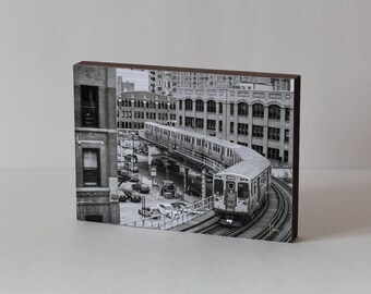 Train Photography, Chicago Wood Photo Block, Loop CTA Train, Black and White Art, Urban Art, office Wall Art, Office Decor, Chicago Art