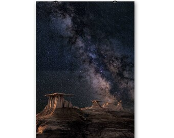 MILKYWAY ASTRONOMY PRINT Our Milky Way Galaxy Glowing Above Table Rock Formations geology science skywatch instant download print