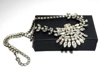 Sterling Silver Rhinestone Necklace,Vintage JAY FLEX  Silver Bib Necklace,Clear Crystal Statement Jewelry,Sterling Silver Bridal Necklace