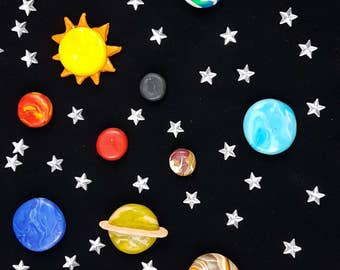 Solar System magnets planets, Pluto and the Sun magnets fridge, toy set, montessori educational toy