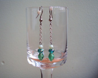Green Pearl & Crystal Dangles