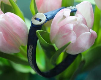 Blue Reindeer Leather Sami Bracelet