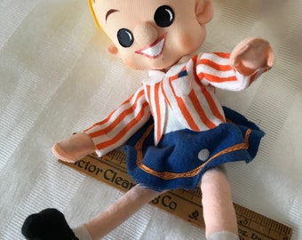 Vintage Doll / Fabric Doll Circa 1950's / Wired Moveable Legs & Arms Doll