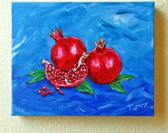 Pomegranates, Painting on Canvas, Original Painting, Pomegranate Art, Still Life, Open Pomegranate, Jewish Artwork, Judaica Wall Art, Fruit