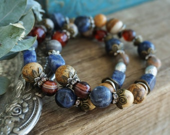 "Bohemian ""Sunset Blues"" Stretch Bracelet, Rustic Gypsy Boho Chic Floral Indie Nature Ocean Beach Sky Dusk Women's Jewelry Gift Idea ByLEXY"