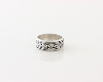 Mens Sterling Silver Spinner Ring Rotating Design Braided Band Ring size 7 1/2