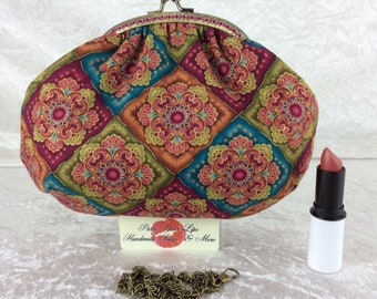 Handmade handbag purse clutch kiss clasp Alice frame bag Jaquard