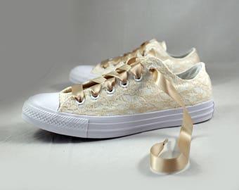 Monochrome Champagne Bridal Converses  --Lace Converse -- Wedding Tennis shoes  - Wedding Converse