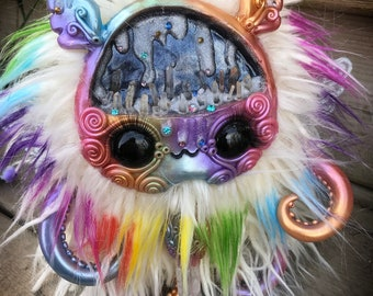 Prism the rainbow lord // art doll toy creature rainbows plush crystals cavern creepy cute