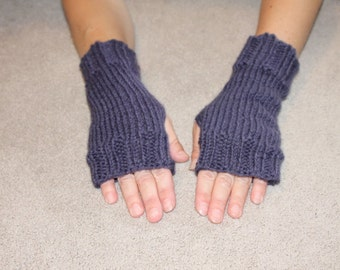 SALE!:  Hand Knit Fingerless Mittens/Texting Gloves-Purple  100% Wool  Wrist Warmers