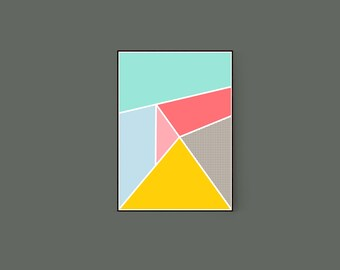Shapes #4 Colourful Geometric Abstract Graphic Art Print