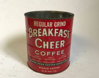 XL Breakfast Cheer Coffee Tin, Vintage Coffee Can, Red Coffee Tin, Collectable Tins, Kitchen Decor, Christmas Gift, Coffee Lover Gift