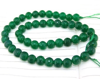 """strand Round Faceted Green Jade Beads --- 8mm  10mm 12mm---  gemstone beads --- 15"""" in length"""