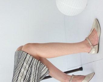 Lucie Skirt -jacquard cotton monochrome pattern pencil skirt