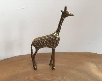 Vintage Mid Century Brass Giraffe Figurine  - Walter Bosse style, indented markings