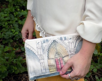 G O T H I C - Construct Series- French Gothic Cathedral Bohemian Hand Painted Clutch Bag- Watercolor and Ink--Made to Order any pallete!