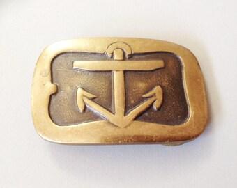 Vtg belt buckle, anchor, sailor, gift for him, gift for her, Anchor belt buckle, brass belt buckle, boating buckle, sailing buckle
