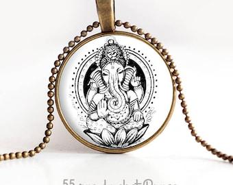 Necklace pendant cabochons 25 mm, Hindu God ganesh, hindi God, lucky charm
