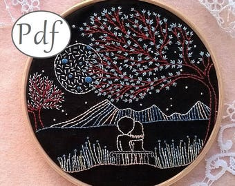 embroidery pattern pdf - DIY hoop art pattern, modern embroidery pattern , perfect valentine's gift, DIY hand embroidery art