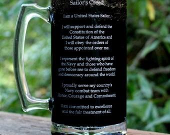 The Sailor's Creed Beer Mug,U.S. Navy, engraved Custom Military Gift, 27oz,