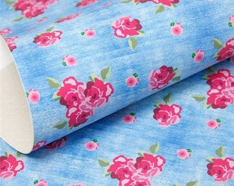 Light Blue Jean Floral Faux Leather Sheet
