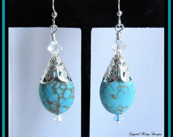 Earrings Oval Turquoise Magnesite with Swarovski Crystals on Silver Plated Ear Wires