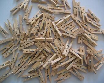 Set of 10 mini clothespins natural wood 30mm