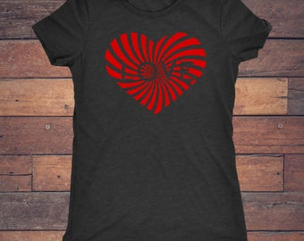 Love Heart - Trendy Red Heart Design on Super Soft Tri Blend Vintage Black Tee