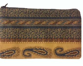 Cosmetic Bag, Pencil Bag, Paisey Print Bag, Cotton Bag, Small Purse, Paisley and Stripe Print Bag