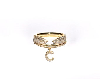 14k Half Way Eternity Pave Diamond Initial Letter Ring