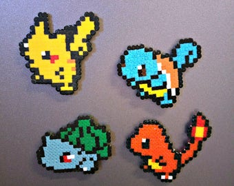 Handmade Pokemon Inspired Magnets, Pikachu, Charmander, Squirtle, Bulbasaur - Set of 4