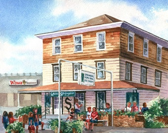 Stone Harbor Springers Side View Ice Cream shop watercolor painting print, signed and matted