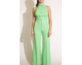 Vintage 1960s Chequers Lime Green High Waisted Bell Bottoms with Button up Collared Halter Two Piece size S/M
