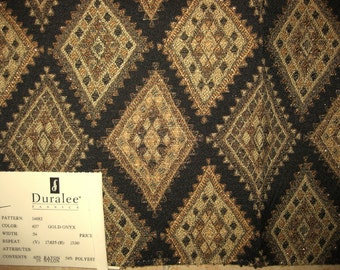 Duralee Gold Diamond Woven Tapestry Designer Fabric Sample Black