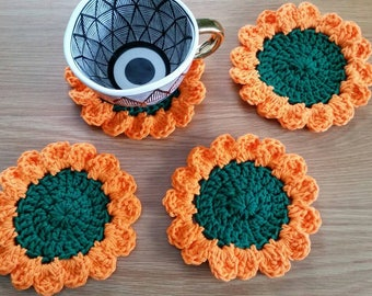 Sunflower Coaster Set / Sunflower Decor / Sunflower Coasters / Crochet Coaster Set / Flower Coasters / Flower Decor / Set of 4