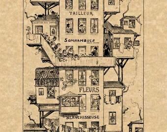 Albert Robida Art Print Steampunk Futuristic 18 Story House in the City Antique Vintage 1883