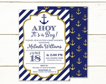 Nautical Baby Shower Invitation boy Printable, Ahoy it's a boy, blue and gold, Anchor Baby Shower Invitation, Baby Boy Shower Invitation