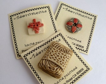 Porcelain buttons - hand painted - pink beige black