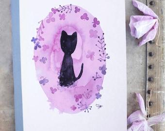 Black cat illustrated notebook, Cat stationery, Cat watercolor art, Flower cat, Cat lover gift, Cat illustration, Cat illustrated, Cat art