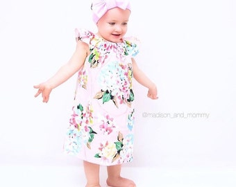 Floral Baby Gown, Baby Gown, Dress, Pink Girls Dress, Toddler Girls Dress, Floral Girls Dress, Pink Floral Dress, Fall Dress, Girls Sundress