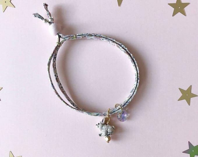 Liberty of London Charm Bracelet for Little Girls, Adjustable Size, Bunny Charm, giddyupandgrow