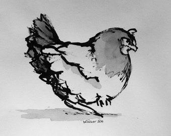 Chicken - Original ink and wash sketch by the Scottish artist Micaela Walker