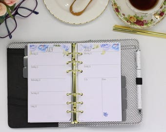 Personal Planner Inserts WO2P. Week on two pages. Blue Floral. Will fit Filofax and Kikki-K